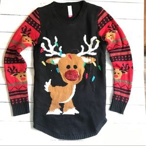 Rudolph red nosed reindeer ugly Christmas sweater